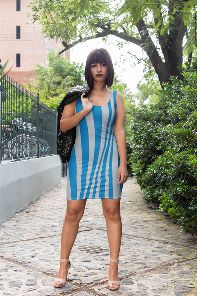 ThatXpression's Multi Colored Blue & Silver Detroit Illinois Themed Fitted Dress