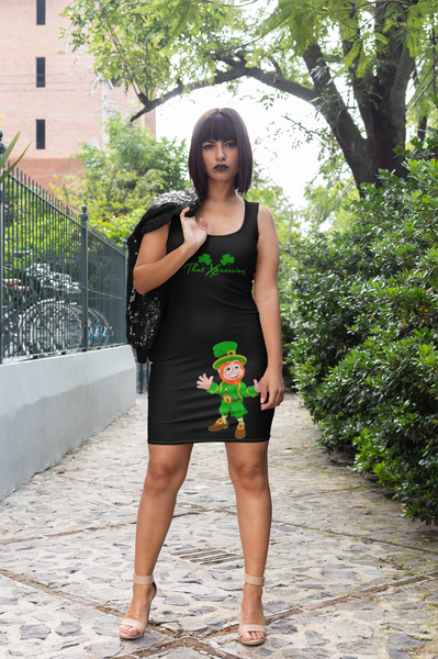 St Patrick's Day Mini Leprechaun Black & Green Clover Fitted Party Dress by ThatXpression