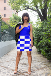 ThatXpression Fashion White Blue Checkered Pattern Dress