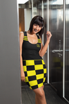 ThatXpression Fashion Yellow Black Checkered Pattern Dress