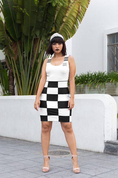 ThatXpression Fashion White Black Checkered Pattern Dress