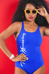One piece colorful swimsuit perfect for lakes beaches and pools