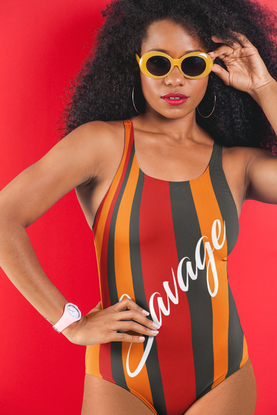 ThatXpression's Red & Gold Tampa Bay Themed Striped Savage One-Piece Swimsuit