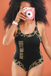 ThatXpression Fashion New Orleans Home Team Diamond Themed One-Piece Swimsuit