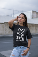 hip hop urban its all love positive vibes women's t'shirt black, navy by thatxpression