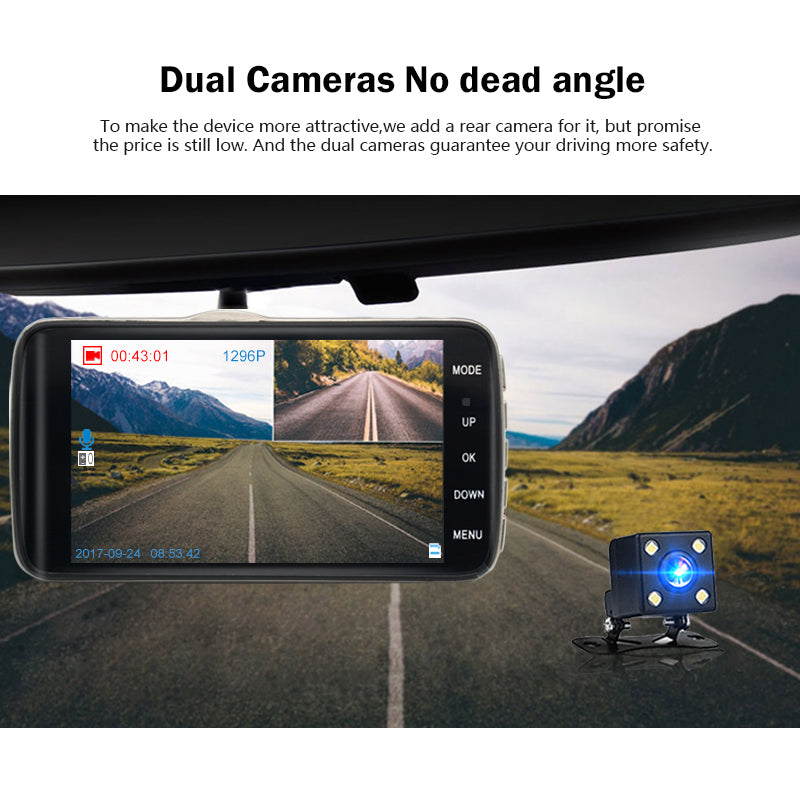 DVR Camera Dual Lens with Full HD 1296P Car Distance warning Dashcam