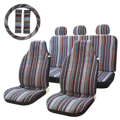 10pc Striped Multi-Color Universal Bucket Seat Covers with Steering Wheel Cover