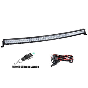 300W 52'' LED Curved Light Bar Combo with Wireless Remote Control