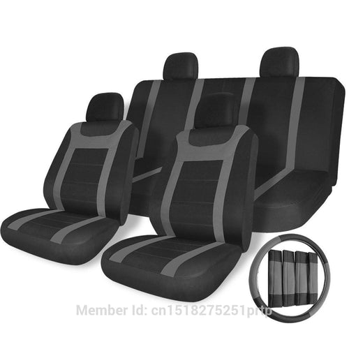 17pc Seat Covers Universal Flat Cloth Mesh Gray Y Strip Set With Steering Wheel Cover
