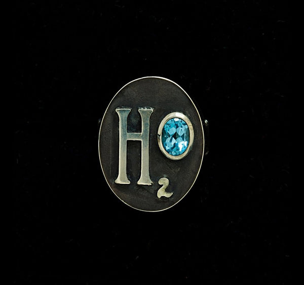 Aquarius H20 Ring with Blue Topaz Gemstone