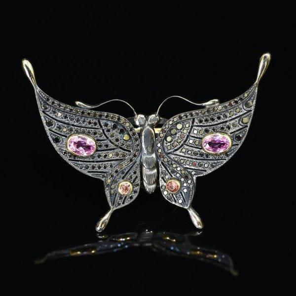 Black Diamond & Tourmaline Butterfly Ring