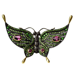 Chromium Diopside and Rhodolite Garnet Black Butterfly Ring