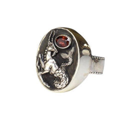 Capricorn Ring with Garnet Gemstone