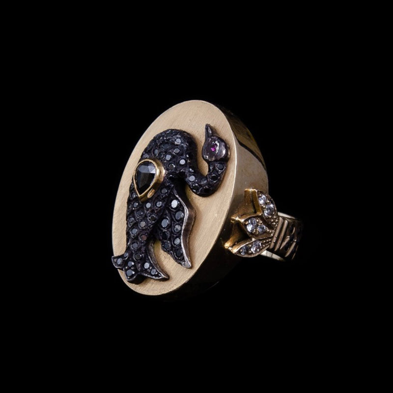 Black Diamond Swan Ring