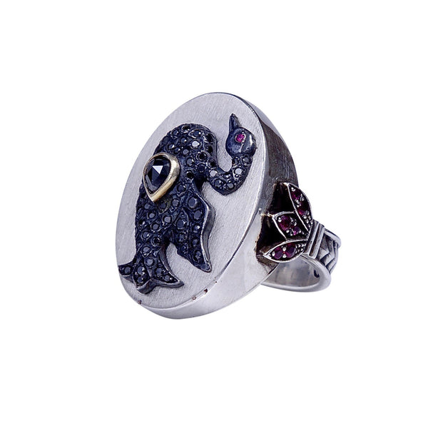 Black Diamond Swan Ring in Silver sz.7 1/4