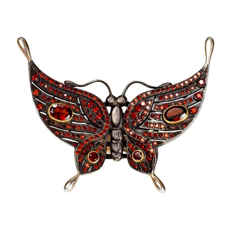 Garnet Black Butterfly Ring
