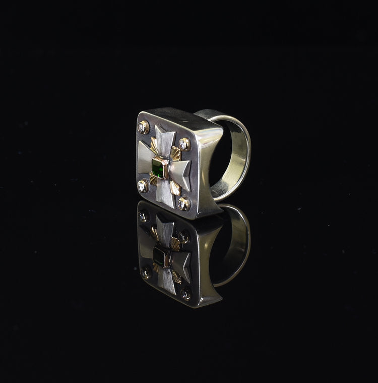 Maltese Cross Honor Ring with Diamonds