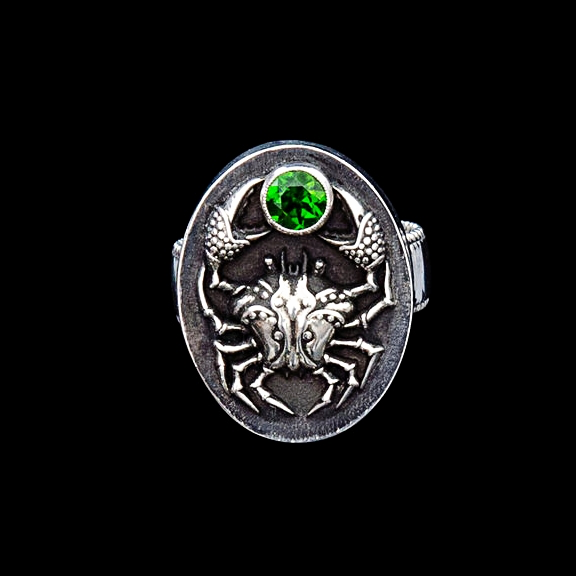 Cancer Ring with Chrome Diopside Gemstone