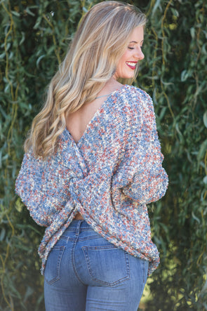 Come As You Are Plunge Back Sweater