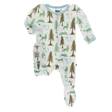 Natural Woodland Holiday Print Footie with Zipper