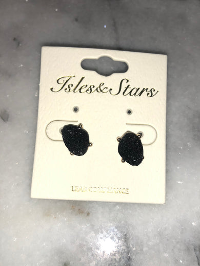 What A Stud Black Geode Earrings