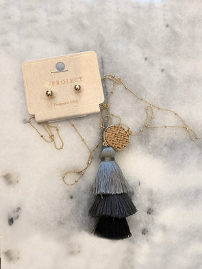Storm Warning Tassel Necklace + Earrings