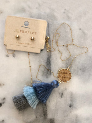 Cold as Ice Tassel Necklace + Earrings
