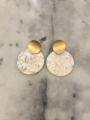 Over the Moon White Earrings