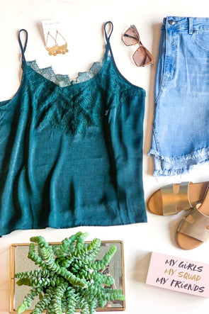 Lace To Meet You Emerald Tank