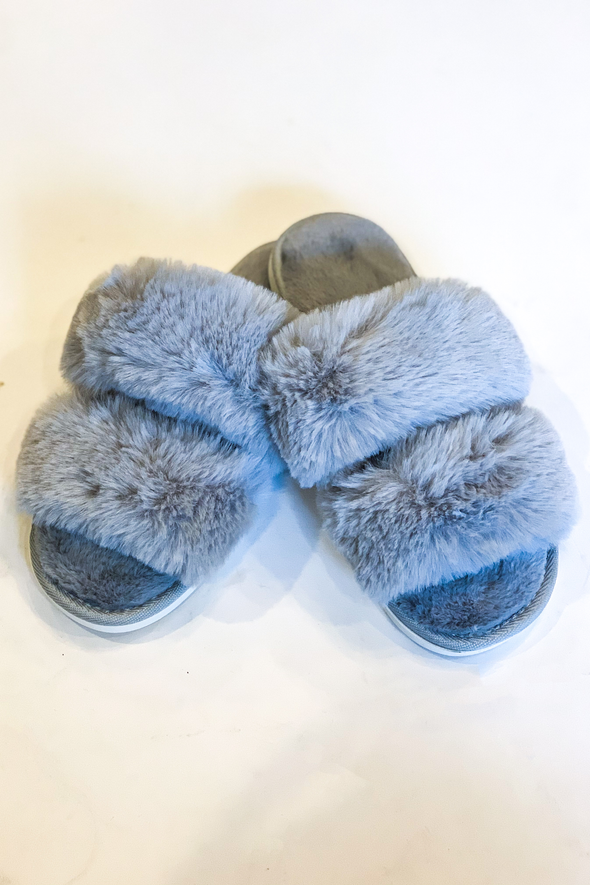 Plush Life Silver Slippers