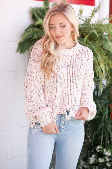Ready For Confetti Frayed Sweater