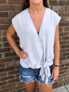 Sleeveless Surplice Grey Top