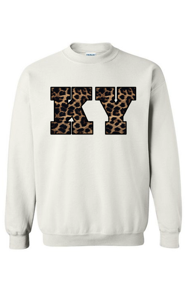 Leopard State Name Embroidered Sweatshirt