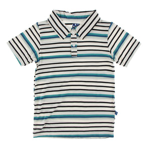 Print Short sleeve polo-Neptune stripe