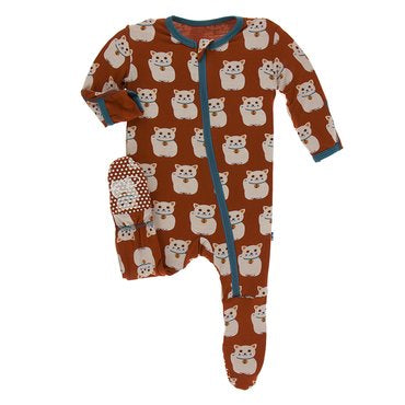 Lucky Cat Print Footie with Zipper