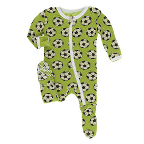 Meadow Soccer Print Footie with Zipper