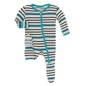 Neptune Stripe Footie with Zipper