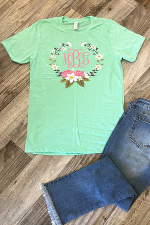 Sunny Day Floral Wreath Monogram Tee