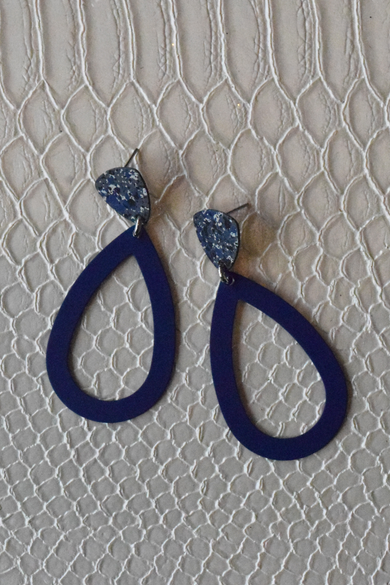 Blue Marble Statement Earrings