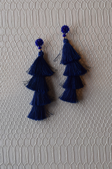Let's Dance Blue Stacked Tassel Earrings