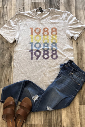 Retro Stacked Birth Year Tee