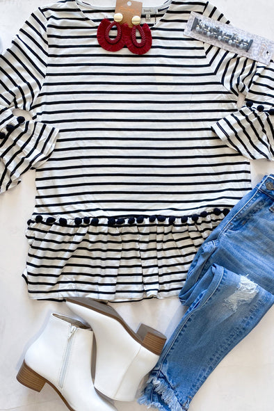 Want It All Black And White Striped Top