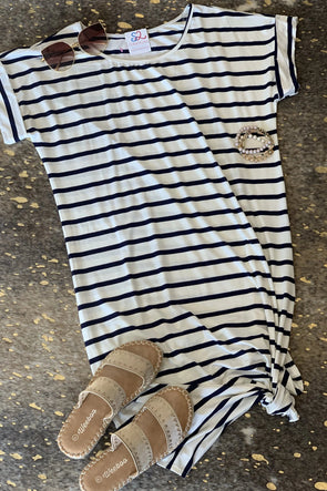 Forever In Navy Stripe Dress