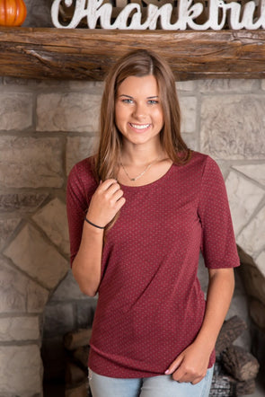 Scoop Neck Burgundy Polka Dot Top