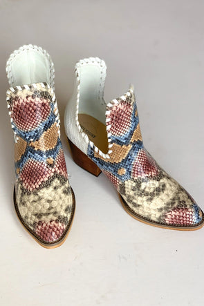 Change the Tempo Snakeskin Booties
