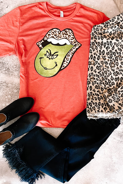 Grinch Leopard Tongue Tee