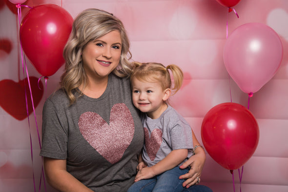 Rose Gold Heart Sparkle Momma and Me Tee