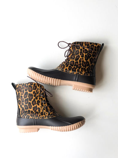 Purr-fectly Chic Leopard Duck Boots