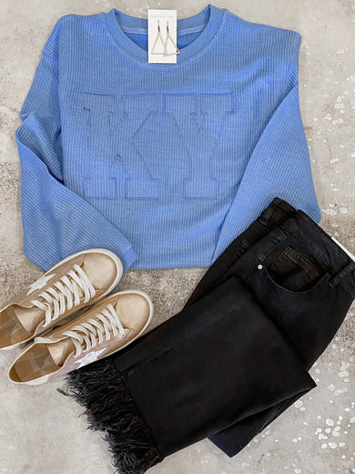 KY Blue Corded Monochromatic Crewneck