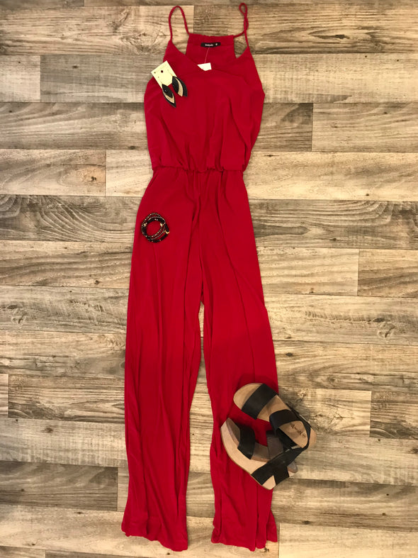 Radiating In Red Jumpsuit